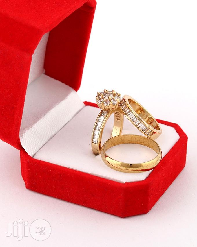 Dante Gold Wedding Ring Set- 18karat Gold Plated