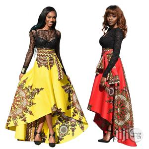 African Fashion Print Short Before Long Flowing Elegant Swing Skirt   Clothing for sale in Lagos State, Ikeja