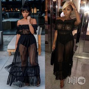 Women's Nightclub Sexy Long Skirt Word Shoulder Sexy Mesh Gauze Dress   Clothing for sale in Lagos State, Ikeja