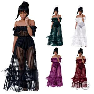 2018 NEW Shoulder Sexy Mesh Gauze Dress Nightclub Sexy Long Skirt   Clothing for sale in Lagos State, Ikeja