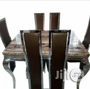 Marble Dining Table With 6 Chairs - Brown | Furniture for sale in Lagos State, Alimosho