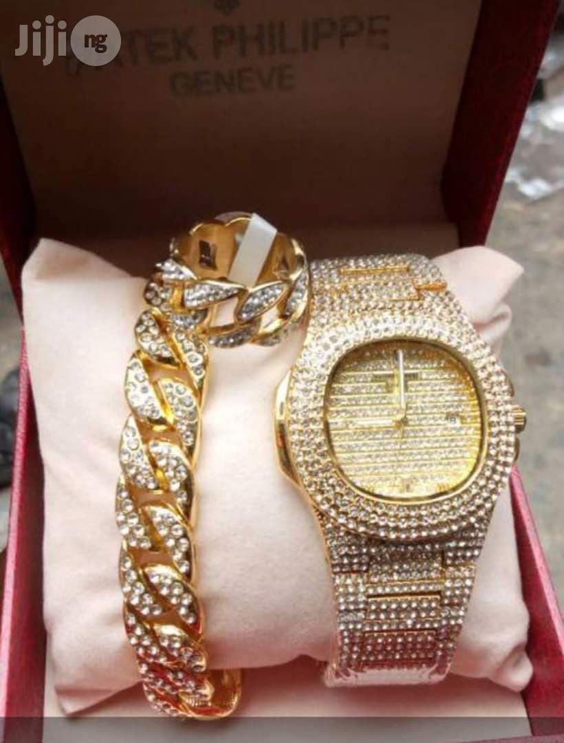 Men's Gold Patek Philippe Iced Out Chain Wrist Watch, Bracelet Ring