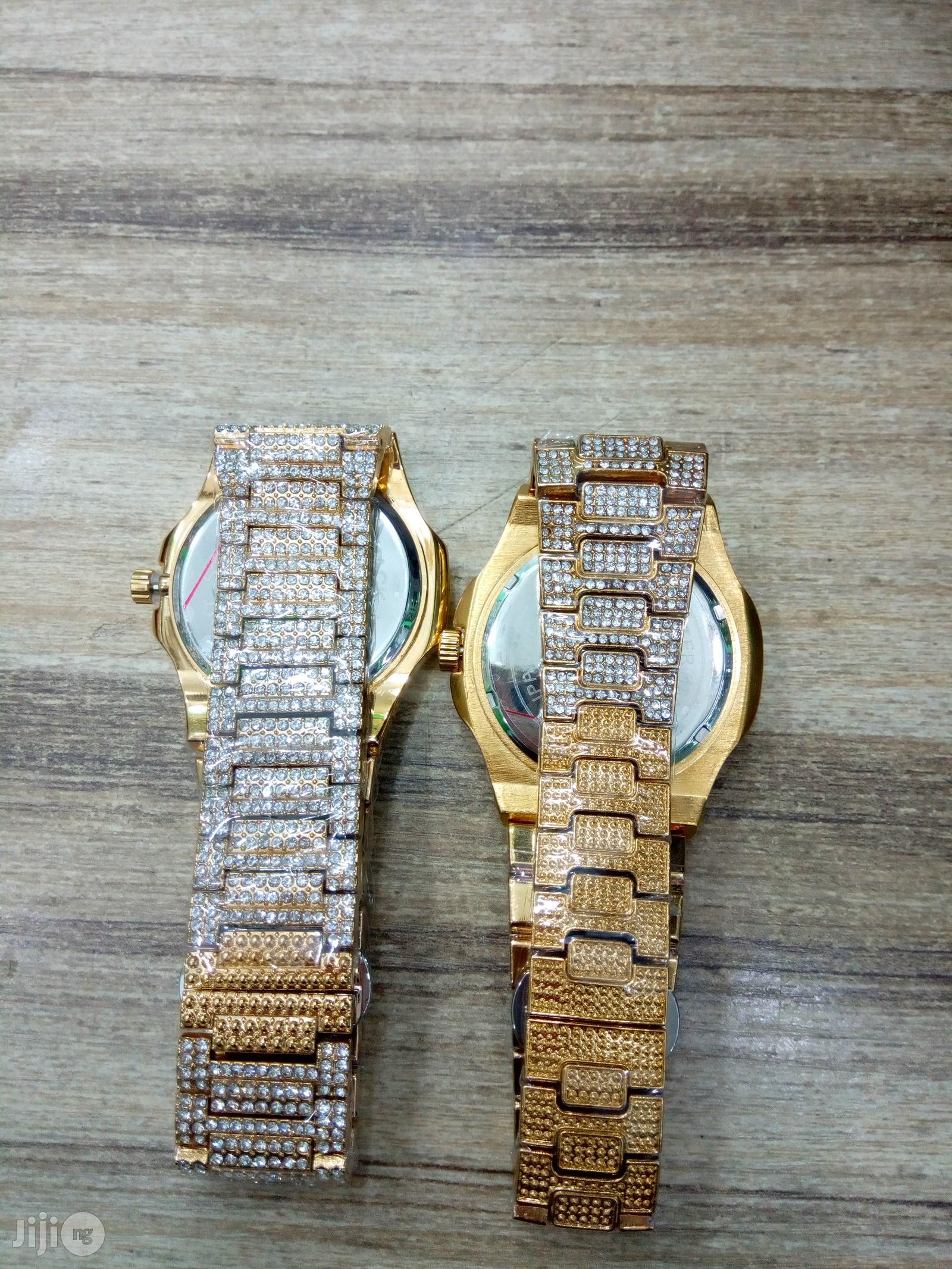 Men's Gold Patek Philippe Iced Out Chain Wrist Watch, Bracelet Ring   Watches for sale in Ikeja, Lagos State, Nigeria