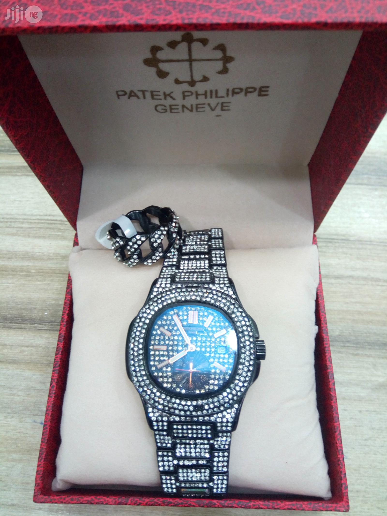 Men Patek Philippe Nautilus Iced Out Chain Wrist Watch Ring - Black | Watches for sale in Ikeja, Lagos State, Nigeria