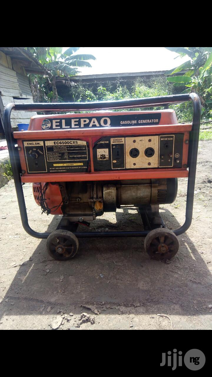 Neatly Used 6.5KVA ELEPAQ EC6500CXS 100% Copper Gen +Receipt | Electrical Equipment for sale in Port-Harcourt, Rivers State, Nigeria