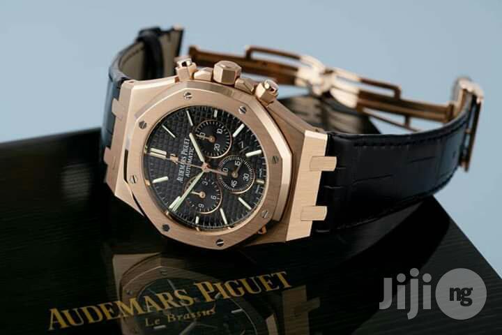 Audemars Piguet(AP) Chronograph Rose Gold Chain Leather Strap Watch