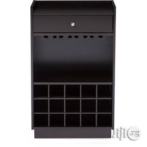 Dark Brown Wood Modern Dry Bar And Wine Cabinet | Furniture for sale in Lagos State, Ipaja