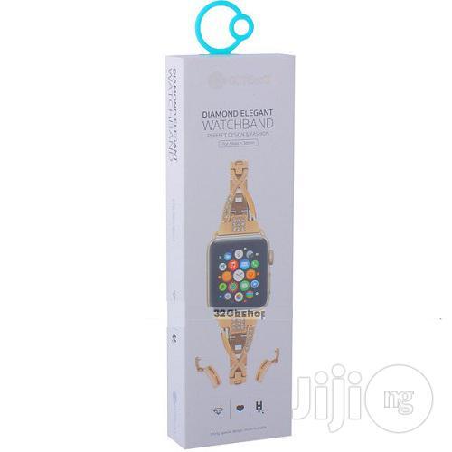 Diamond Elegant Apple Watch Band - W18 - 42mm - Gold