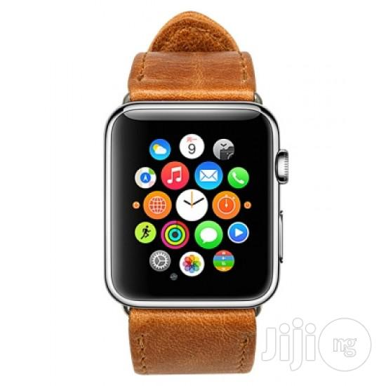 Apple Watch Strap Leather 42mm-brown | Smart Watches & Trackers for sale in Ikeja, Lagos State, Nigeria