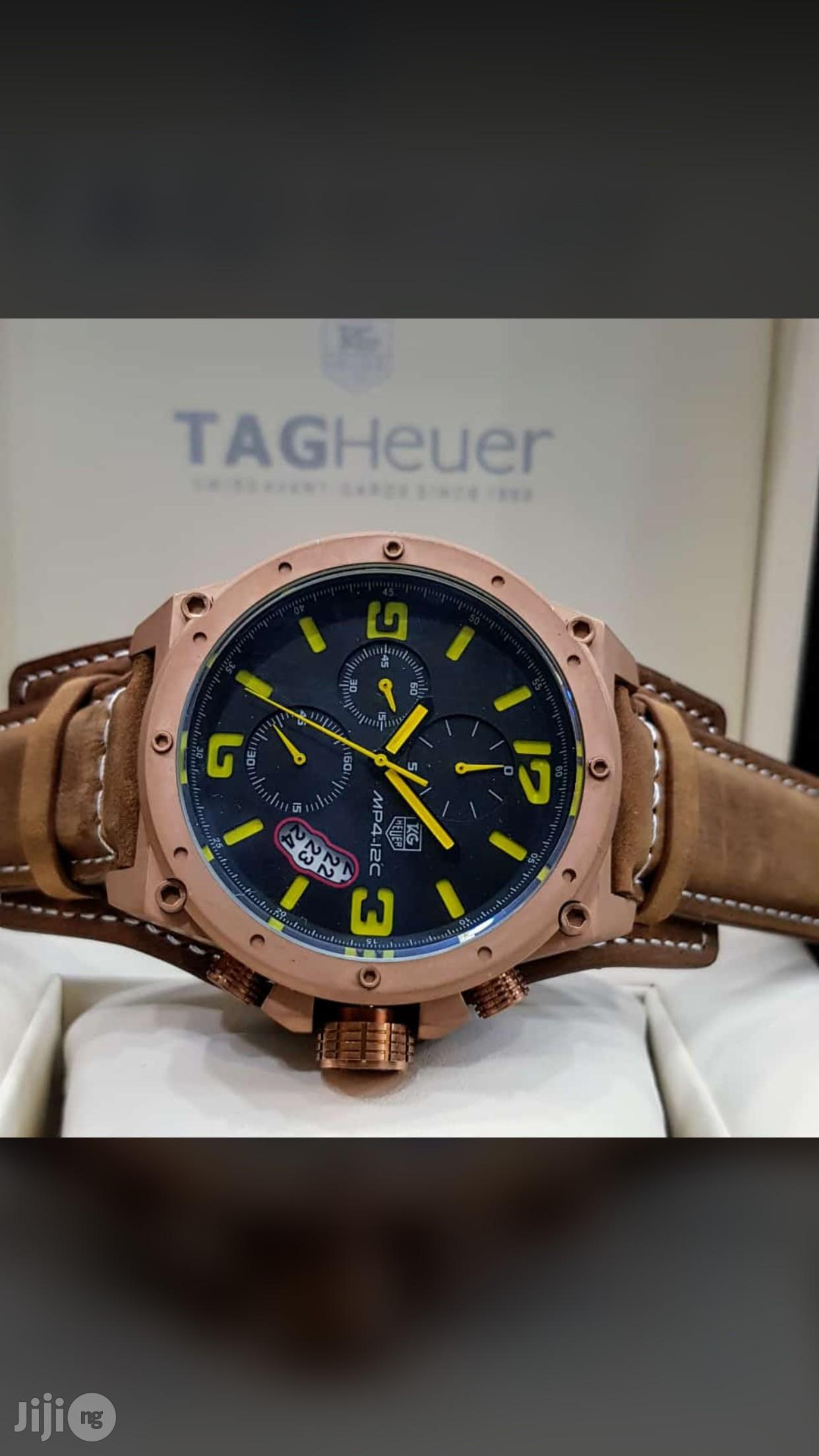 Tag Heuer Genuine Leather Strap Chronograph Watch