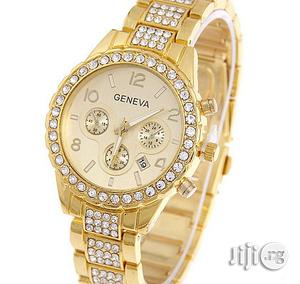 Geneva Classy Rhinestone Bracelet Watch With Date   Watches for sale in Lagos State, Agege