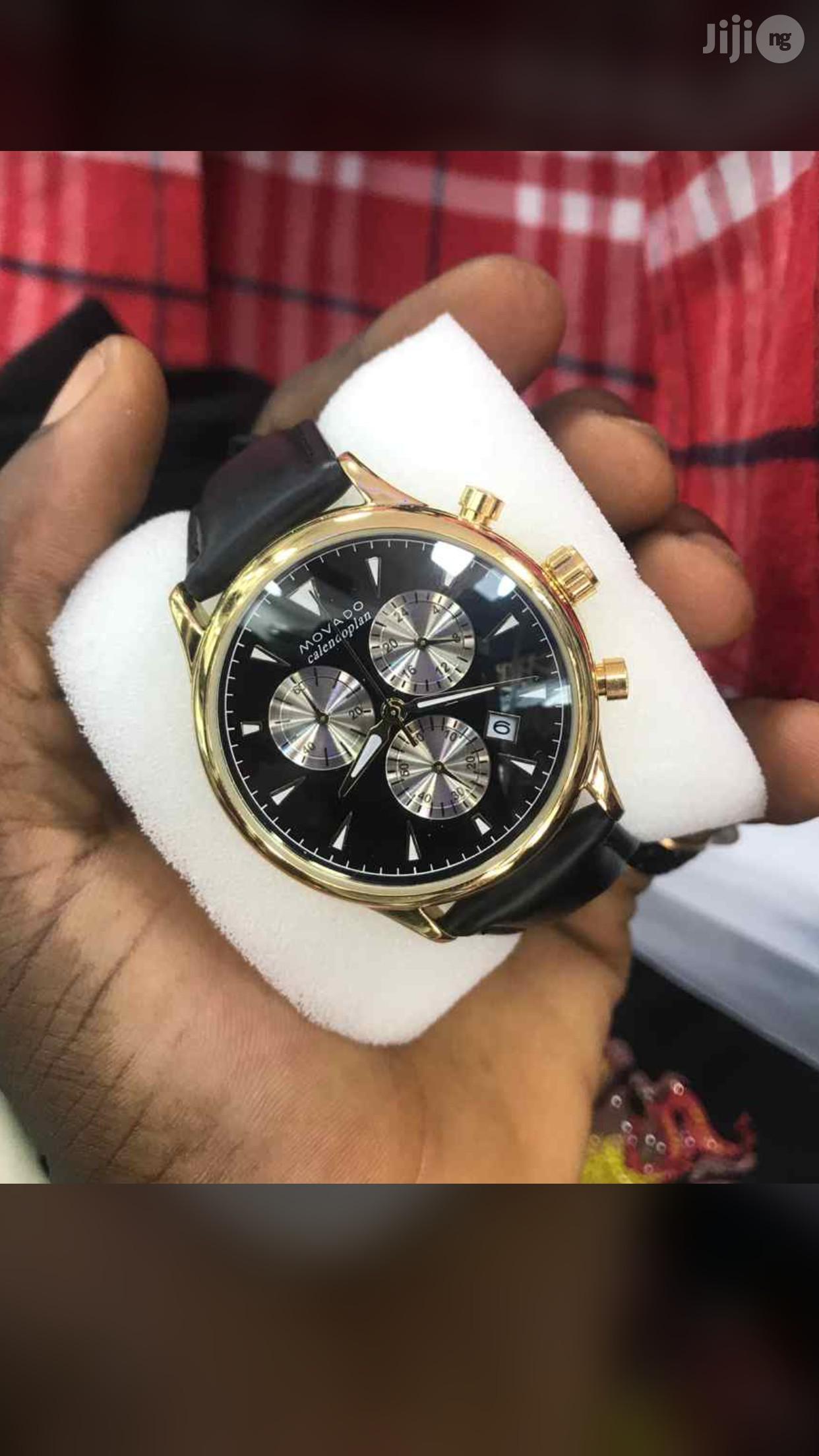 Movado Chronograph Genuine Leather Strap Watch