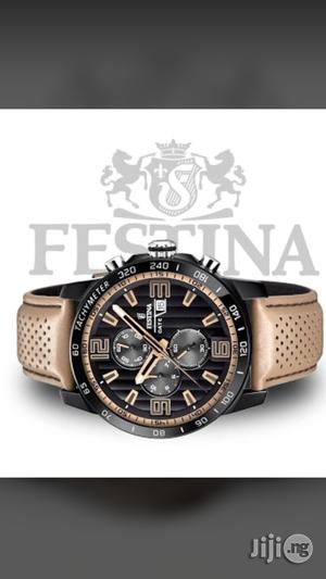 Festina Chronograph Genuine Leather Strap Watch | Watches for sale in Lagos State, Surulere