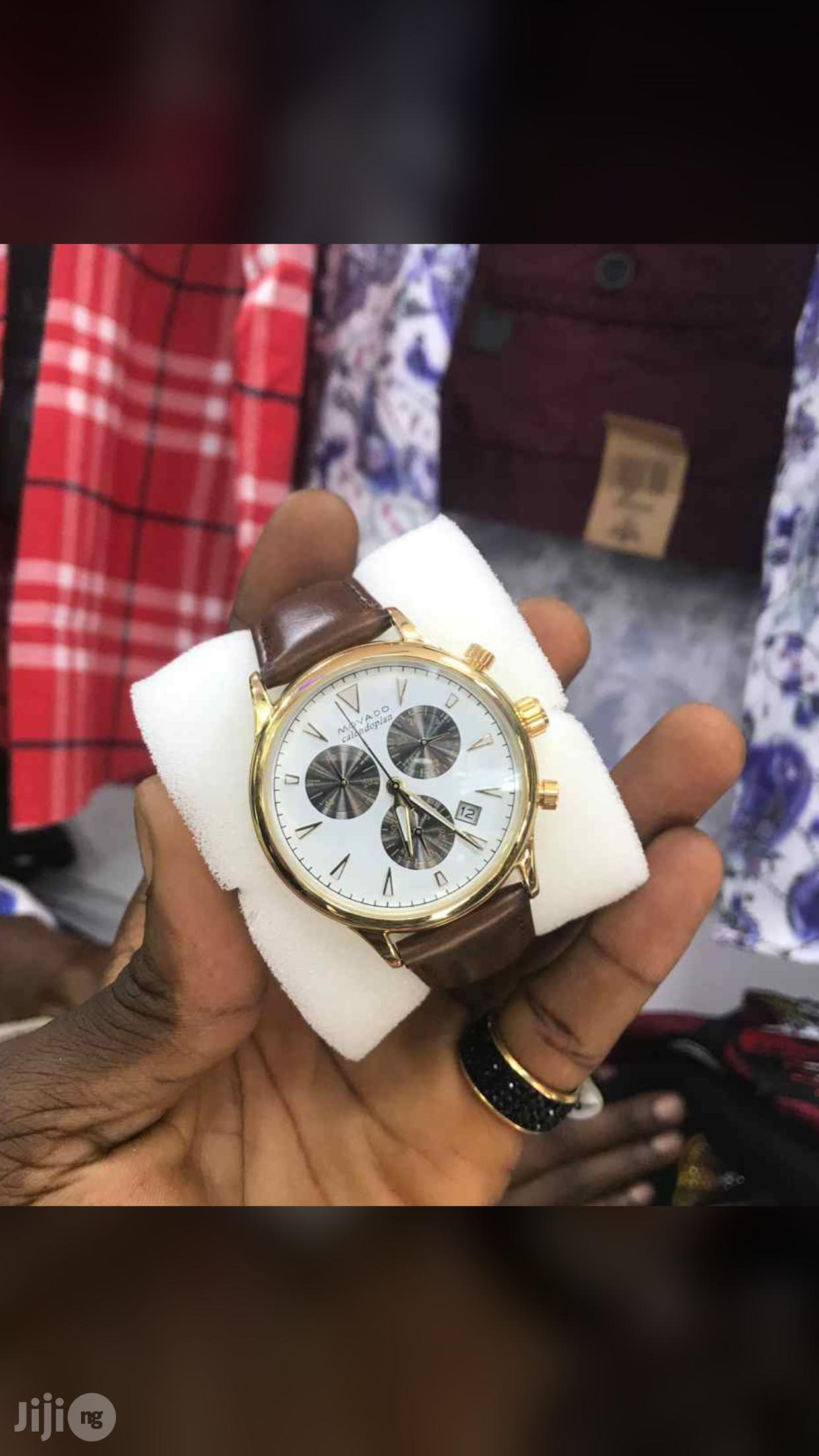 Movado Chronograph Genuine Leather Strap Watch | Watches for sale in Surulere, Lagos State, Nigeria