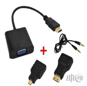 HDMI To VGA Converter With Audio Cable + 2 Micro Mini HDMI Connector Adapter For HD HDTV PC | Accessories & Supplies for Electronics for sale in Lagos State, Ikeja