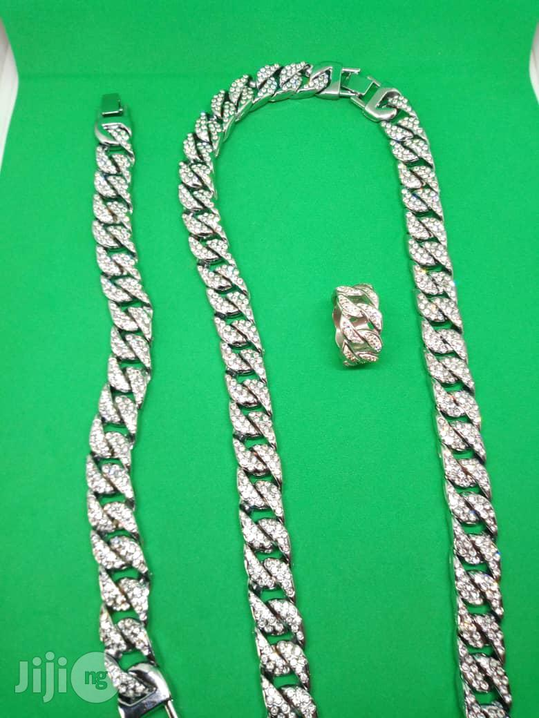 Studded Men Cuban Chain Neck With Hand Chain Ring - Silver