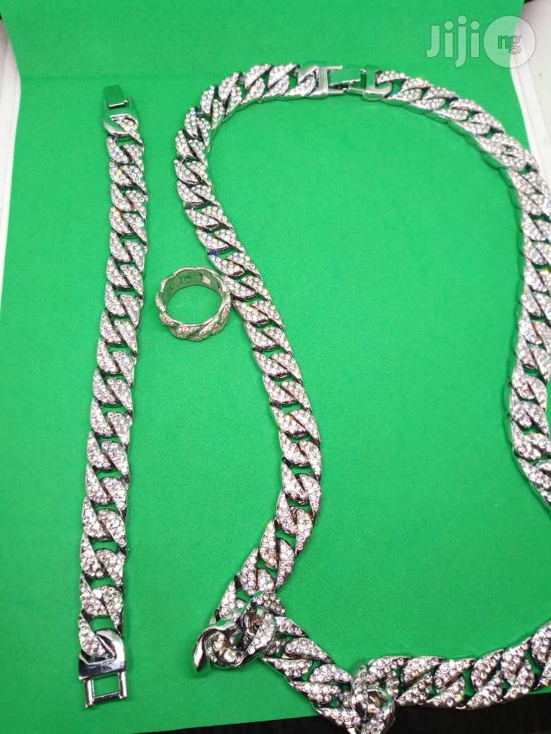 Studded Men Cuban Chain Neck With Hand Chain Ring - Silver | Jewelry for sale in Ojodu, Lagos State, Nigeria