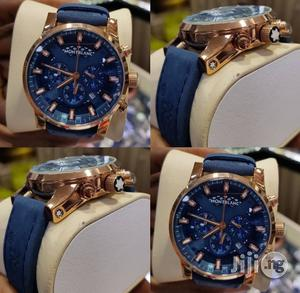 Montblanck Chronograph Genuine Leather Strap Quality Watch | Watches for sale in Lagos State, Surulere