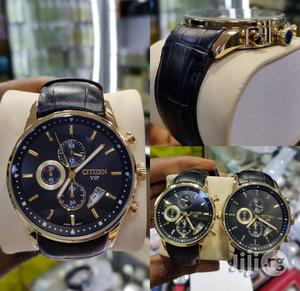 Citizen Chronograph Genuine Leather Strap Quality Watch | Watches for sale in Lagos State, Surulere