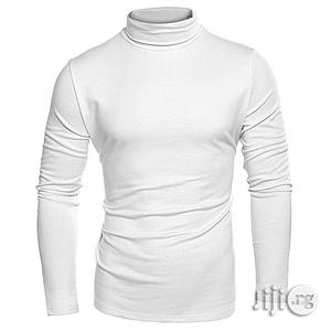 Men Turtleneck Plain T-Shirt - White   Clothing for sale in Lagos State