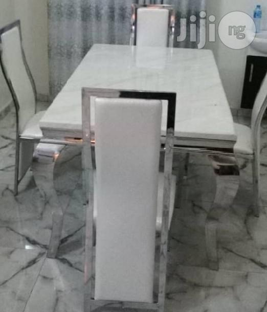 Best Quality Four Seater Marble Dining Table Set Brand New | Furniture for sale in Apapa, Lagos State, Nigeria