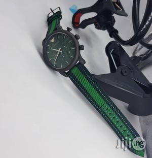 Emporio Armani Genuine Leather Strap Chronograph Watch | Watches for sale in Lagos State, Surulere