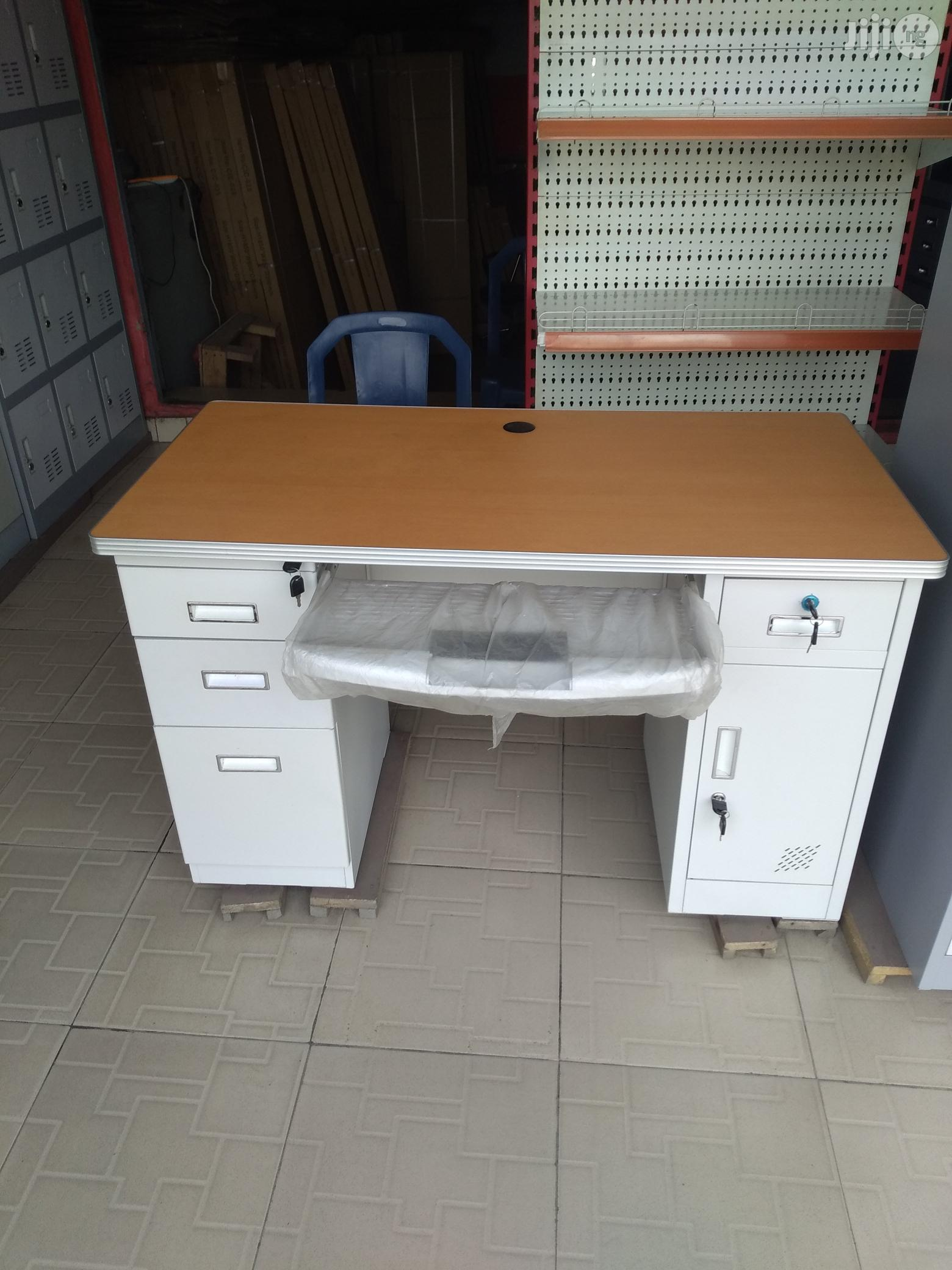 Metal Office Table With Wooden Top
