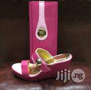 Italian Leather Patent Sandals Mule Shoe And Bag Set | Shoes for sale in Lagos State, Lekki Phase 1