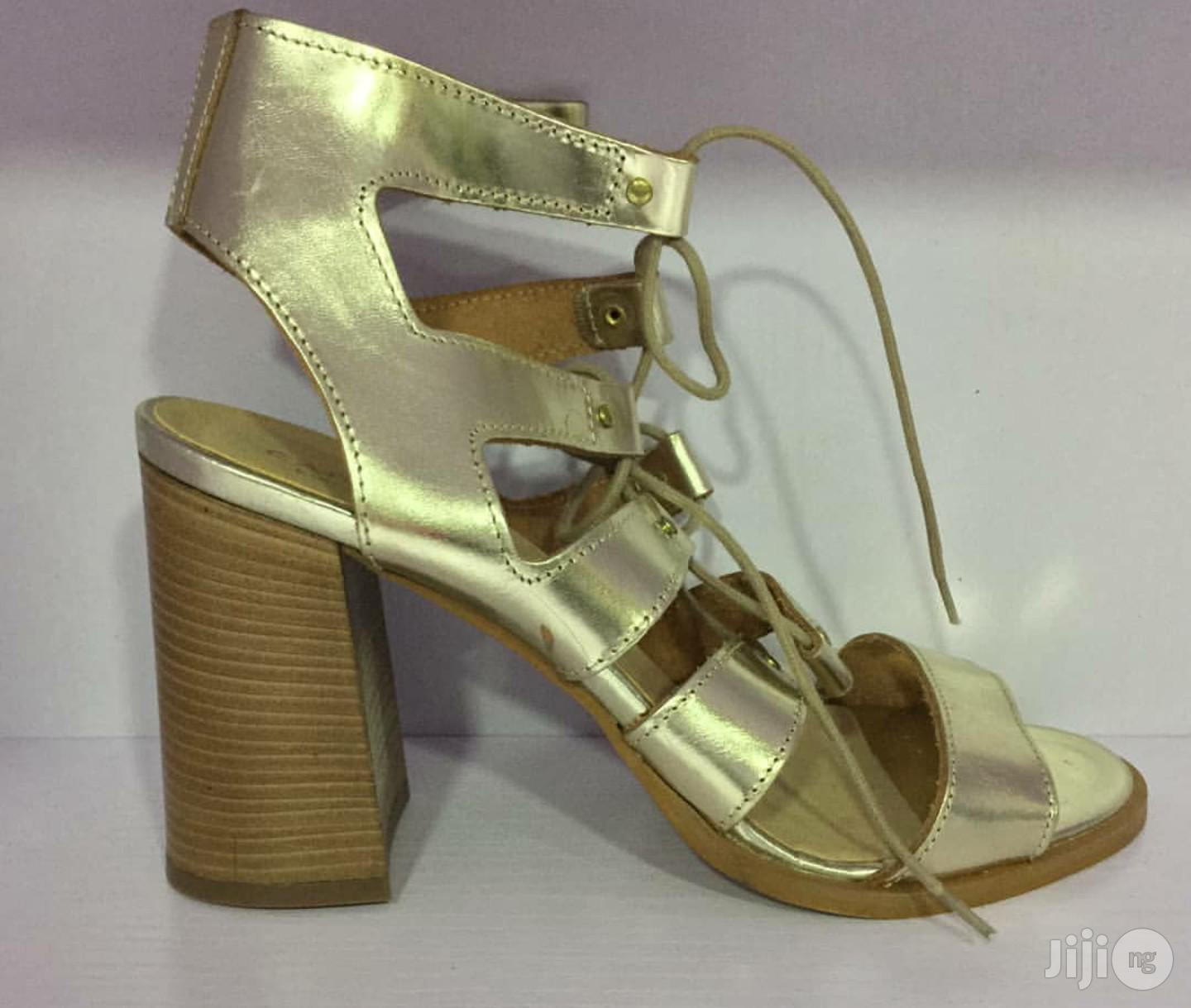 Leather Gold Block Heel Lace Up Sandals   Shoes for sale in Lekki, Lagos State, Nigeria
