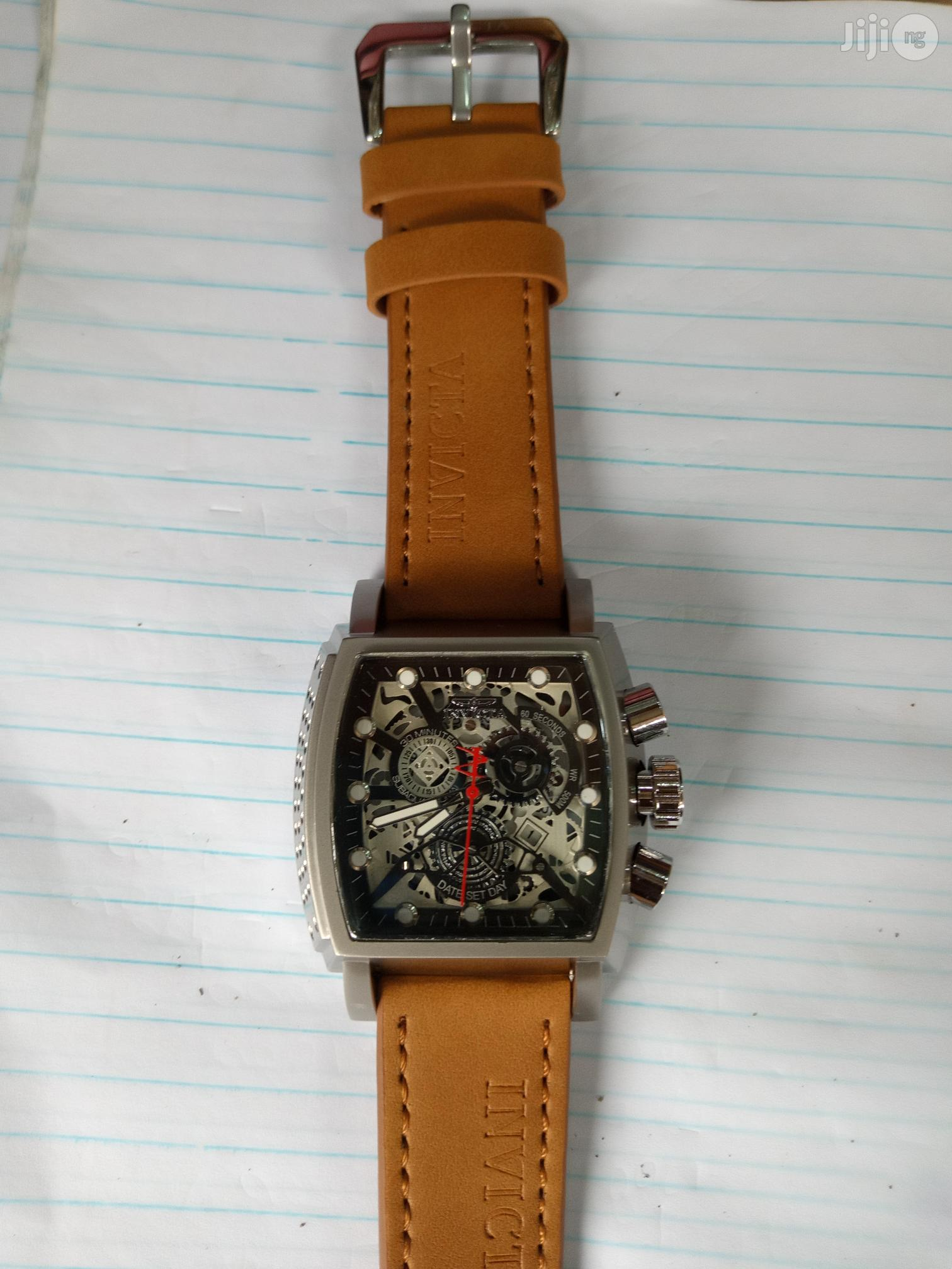 Invicta Men's Brown Leather Wristwatch   Watches for sale in Surulere, Lagos State, Nigeria