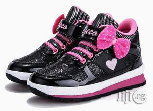 Beautiful Black and Pink High Top Canvas Sneakers for Girls | Children's Shoes for sale in Lagos State, Lagos Island (Eko)