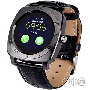 X3 Bluetooth Leather Smartwatch With SIM & Memory Card Slots - Black   Smart Watches & Trackers for sale in Lagos State, Ikeja
