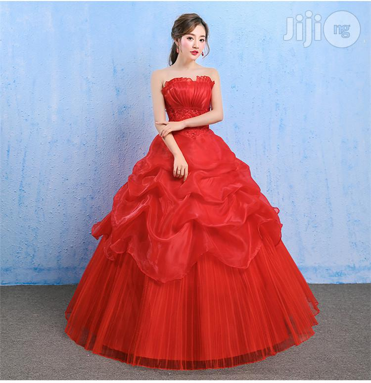 Bride Married Tube Top Women Qi Red Lace Dress