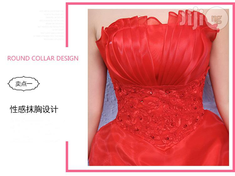 Red Bride Married Tube Top Small & Large Sizes Qi Red Lace Dress | Wedding Wear & Accessories for sale in Ikeja, Lagos State, Nigeria