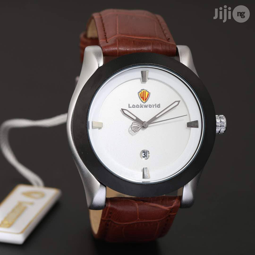 Lookworld Silver/Black Leather Strap Watch