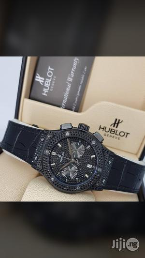 Hublot Big Bang Chronograph Genuine Leather Strap Watch | Watches for sale in Lagos State, Surulere