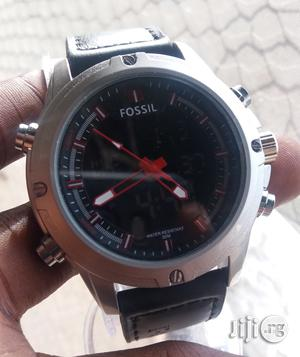 Fossil Leather Strap Digital and Analogue Wrist Watch   Watches for sale in Lagos State, Lagos Island (Eko)