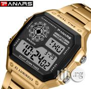 Panars Men's Square Steel Band Electronic Waterproof Multi-functional Watch-gold | Watches for sale in Lagos State, Agege