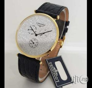 Longines Chronograph Flat Watch Genuine Leather Strap | Watches for sale in Lagos State, Surulere