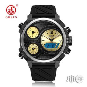 Ohsen Rubber Strap Wrist Watch. Analog and Digital Display | Watches for sale in Lagos State, Lagos Island (Eko)