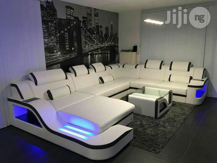 U Shape Sofa With LED Lights