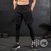 Fashion 2 Piece Set Men Fitness Pants Black Solid High | Clothing for sale in Lagos State, Surulere