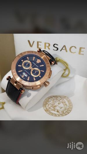 Versace Chronograph Genuine Leather Strap Quality Watch | Watches for sale in Lagos State, Surulere