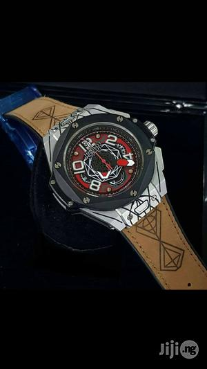 Hublot Chronograph Silver Leather/Rubber Strap Watch | Watches for sale in Lagos State, Lagos Island (Eko)