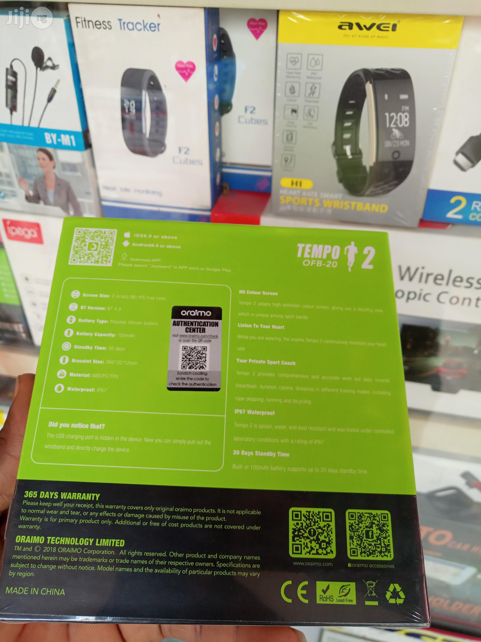 Oraimo Smart Fit Band OFB-20 Tempo 2 | Smart Watches & Trackers for sale in Ikeja, Lagos State, Nigeria