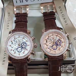 Bvlgari Chronograph Genuine Leather Strap Watch | Watches for sale in Lagos State, Surulere