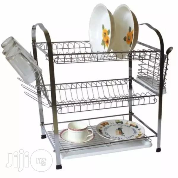Prima 3 Layer Chrome Steel Dish Drainer - White