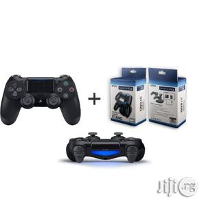 Sony Sony Ps4 Controller Pad - Black + Dual Wireless Charger | Accessories & Supplies for Electronics for sale in Lagos State, Ikeja
