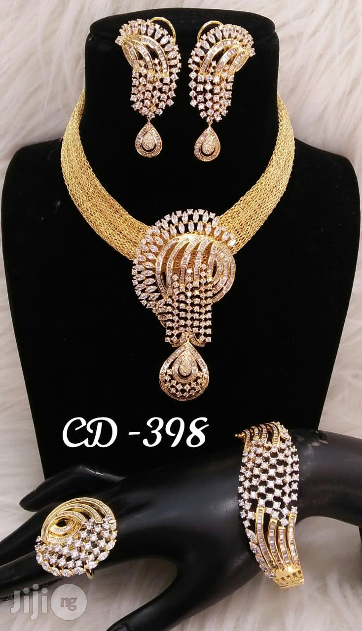 Plated Cubic Zirconia Necklace Earrings India Silver