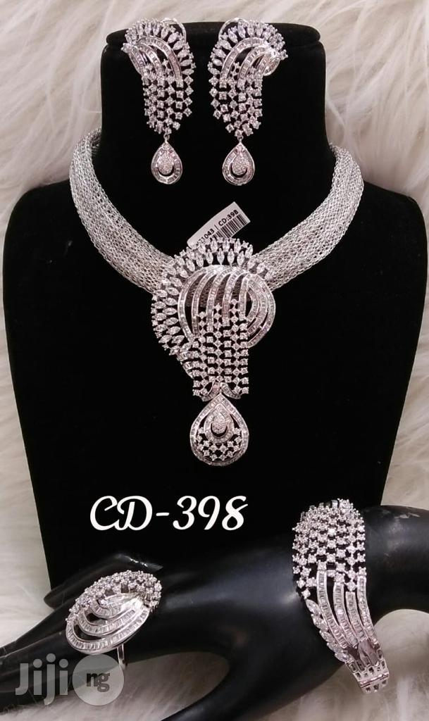 Plated Cubic Zirconia Necklace Earrings India Silver | Jewelry for sale in Lagos Island (Eko), Lagos State, Nigeria